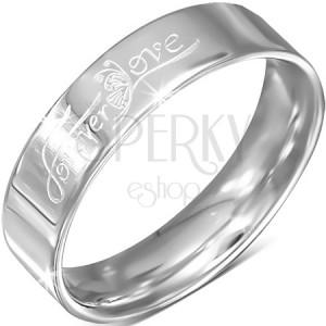"""Ocelový kroužek, stříbrný, nápis """"Forever Love"""" s motýlem, 6 mm"""