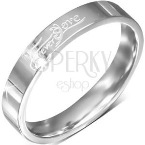 """Prsten z oceli, lesklý kroužek s nápisem """"Forever Love"""", 4 mm"""