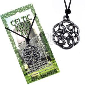 Černá šňůrka na krk a lesklý kovový přívěsek, keltský uzel květ