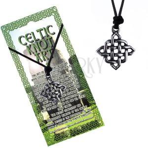 Šňůrkový náhrdelník s přívěskem - lesklý čtvercový keltský uzel