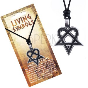 Šňůrkový náhrdelník - černý s kovovým srdcovým pentagramem