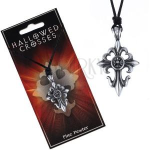 Černá šňůrka na krk s přívěskem liliového kříže s kruhem