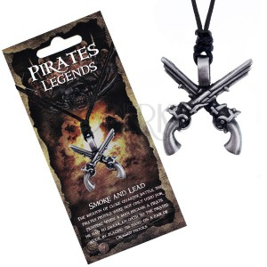 Šňůrkový náhrdelník - černý se zkříženými kovovými pistolemi