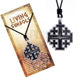 Šňůrkový náhrdelník - kovový přívěsek, jeruzalemský kříž