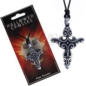 Šňůrka na krk s přívěskem kříže s květovanými obrazci