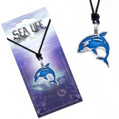 Šňůrkový náhrdelník, černý, kovový přívěsek modré kosatky AA47.09