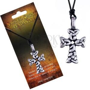 Černý náhrdelník – šňůrka, přívěsek kříže ze spletených oválů