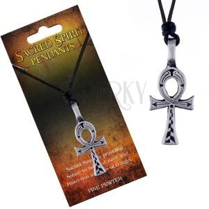 Šňůrkový náhrdelník - černý, kovový přívěsek egyptského kříže