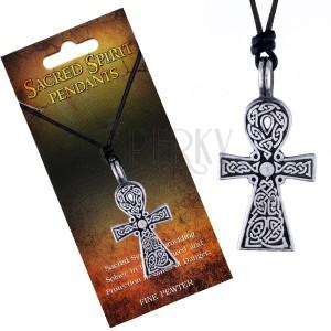 Černý šňůrkový náhrdelník, přívěsek kříže Sacred Spirit, keltské uzly