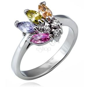 Lesklý prsten z kovu - vějíř barevných zrnkových zirkonů