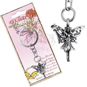 Kovová klíčenka s přívěskem lesní víly s kouzelnou hůlkou