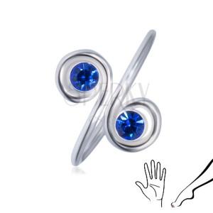 Stříbrný prsten 925 na ruku nebo nohu - dva modré zirkony ve spirálách