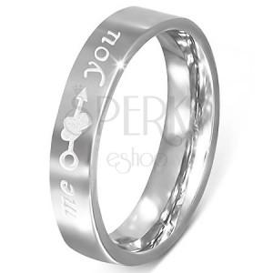 """Ocelový prsten - stříbrný, gravírování """"me you"""", srdce a šíp"""