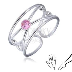 Prsten ze stříbra 925 - kulatý růžový zirkon, zdvojená smyčka