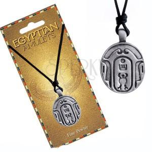 Náhrdelník – černá šňůrka, kovový přívěsek, oválný egyptský amulet