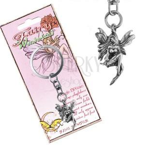 Přívěsek na klíče - kovový, luční víla s patinou