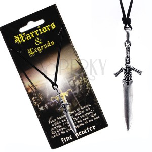 Šňůrkový náhrdelník - kovový meč s rukojetí kostlivce