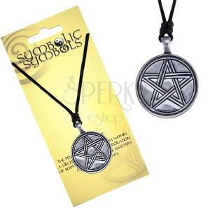 Náhrdelník - šňůrka a kovový kruh, vyřezávaný pentagram