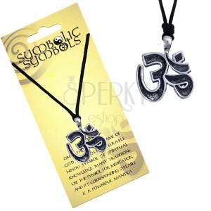 Šňůrkový náhrdelník - kovový přívěsek, posvátná slabika Óm