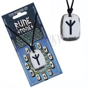 Šňůrkový náhrdelník - kovový přívěsek, štítek, runa Algiz