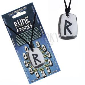 Náhrdelník na krk se šňůrkou a kovovým štítkem, runa Raido