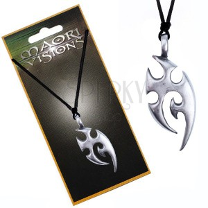 Šňůrkový náhrdelník - kovový přívěsek, domorodý ornament
