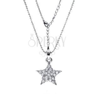 Rhodiovaný náhrdelník - lesklé kuličky, hvězda s čirými zirkony