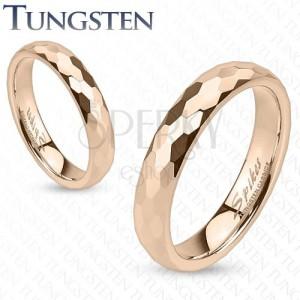 Tungstenový prstýnek - zlatorůžový, broušení do šestihranů