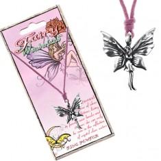 Růžová šňůrka na krk a kovový přívěsek stojící motýlí víly AC3.11