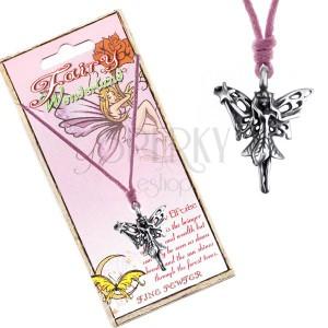 Šňůrkový náhrdelník - přívěsek lesní víly s kouzelnou hůlkou