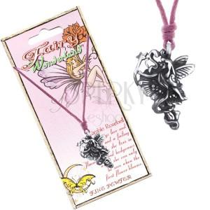 Šňůrka na krk - kovová květinová víla se stuhou a hůlkou