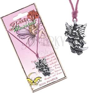 Náhrdelník - růžová šňůrka, kovový přívěsek, snová víla