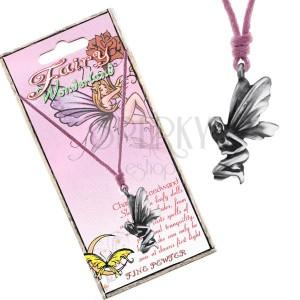 Šňůrkový náhrdelník - kovový přívěsek sedící luční víly