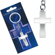 Kovový přívěsek na klíče - lesklý latinský kříž AC3.27
