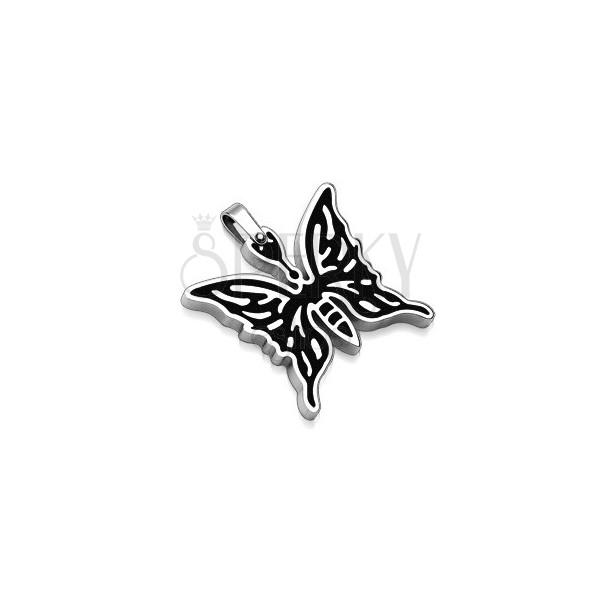 Přívěsek z chirurgické oceli - motýl s černou kresbou
