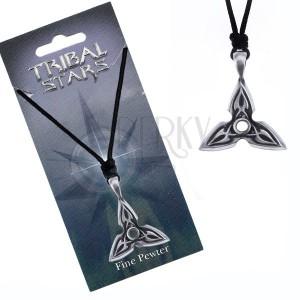 Náhrdelník - šňůrka, kovový přívěsek, trojcípá hvězda, ornament