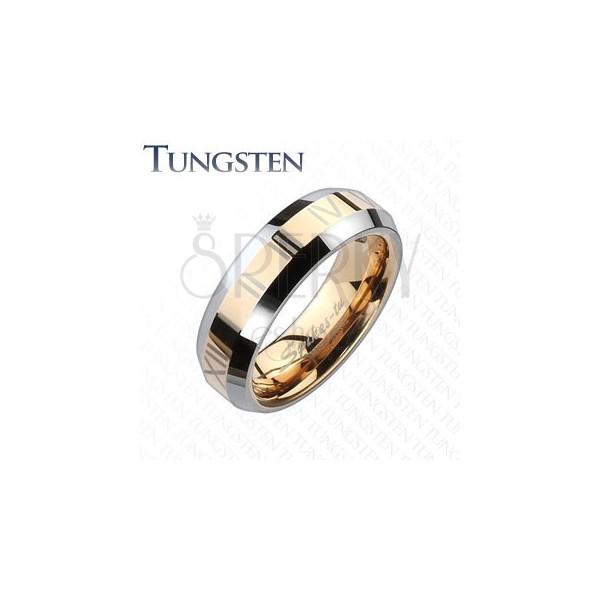 Tungstenový kroužek - zlatorůžový pás s římskými číslicemi