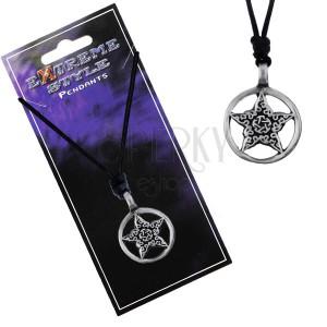 Náhrdelník - černá šňůrka, hvězda s ornamenty v kruhu