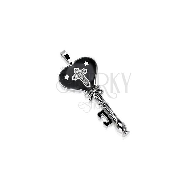Ocelový přívěsek černý klíč s hvězdičkami