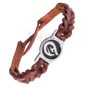 Kožený náramek - karamelově hnědý, pletený, TRIBAL ornament