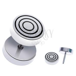 Ocelový fake piercing do ucha - kulatý s černými kruhy