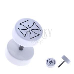 Falešný akrylový piercing - kulatý, obrys maltézského kříže