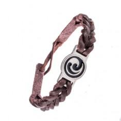 Náramek z kůže - tmavohnědý, propletený, maorský ornament AC3.07