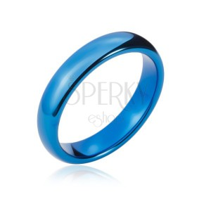 Wolframový prstýnek s oblými hranami, tmavě modrý, 4 mm