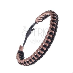 Pletený béžovo-černý náramek na ruku z kůže