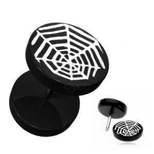 Černý kruhový fake plug do ucha - akrylový, pavoučí síť