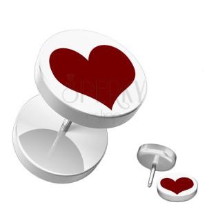 Fake akrylový piercing do ucha - kruhový, bílý s červeným srdcem