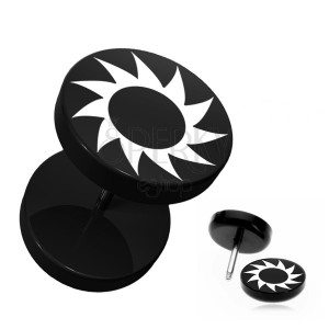 Falešný piercing do ucha z akrylu - černý, kruhový, ozubené kolečko