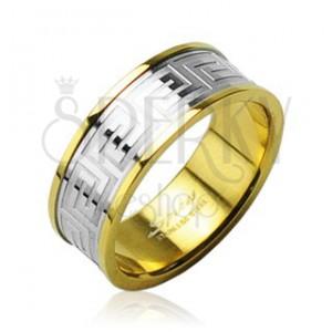 Snubní prsten z chirurgické oceli zlatý se stříbrným středovým pruhem