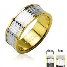 Prsten z chirurgické oceli zlaté barvy se středovým pruhem stříbrné barvy